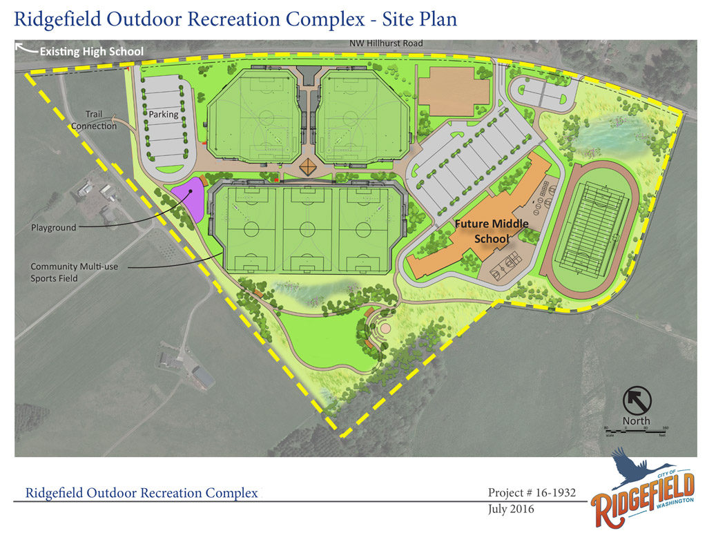 This preliminary site plan for the Ridgefield Outdoor Recreation Complex shows the possible locations of new schools, sports fields, parking, a playground, trail connections and more. Graphic courtesy of the city of Ridgefield