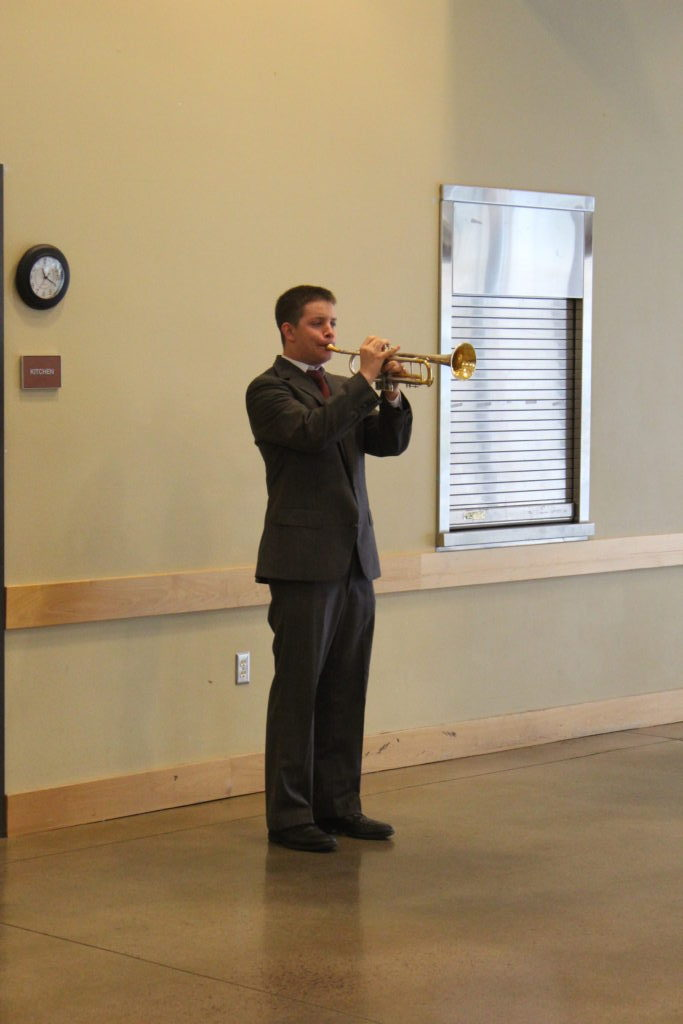 Steve Montecucco, a Battle Ground High School student, closed the Battle Ground Veterans Day Ceremony by playing a medley of service songs and Taps on the trumpet. Photo by Joanna Yorke