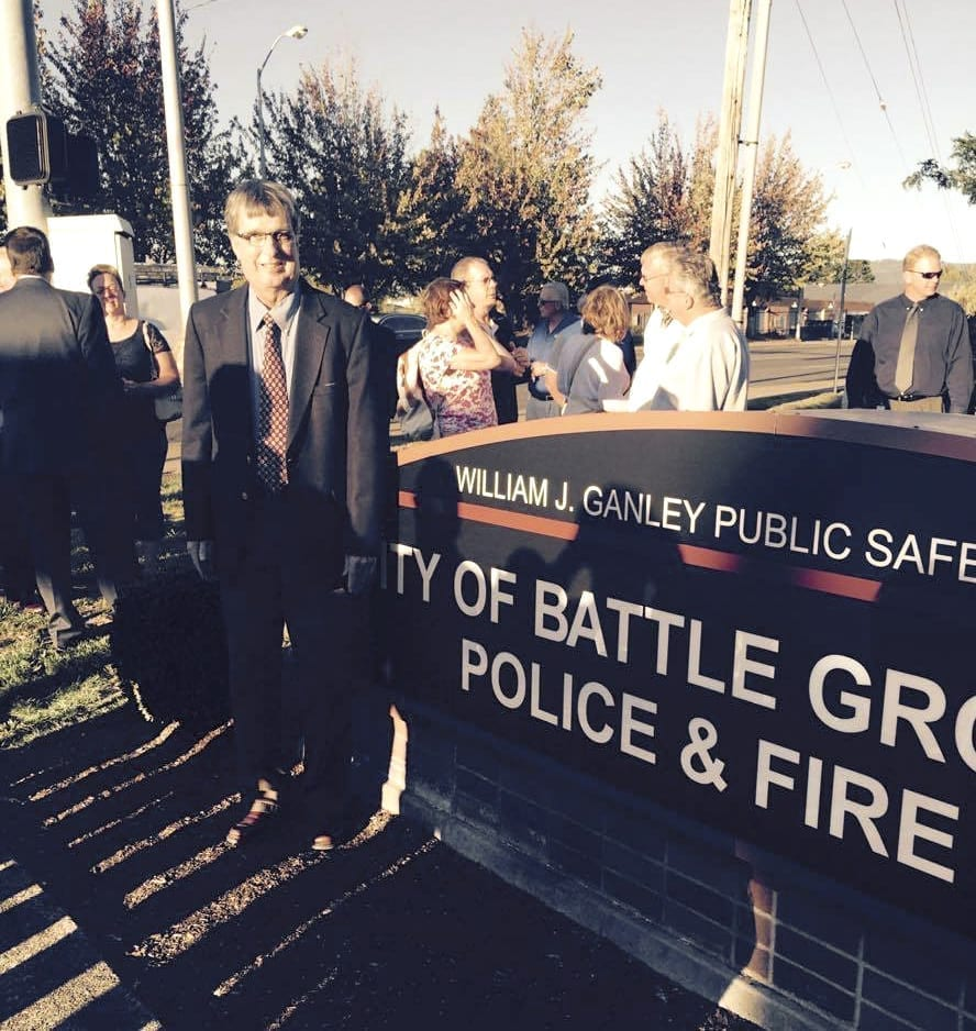 Battle Ground Council Member Bill Ganley was overwhelmed with emotion last year when he was surprised with the unveiling of the William J. Ganley Public Safety Complex in the city of Battle Ground. Photo courtesy of Brenda Alling