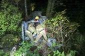 Vehicle goes over embankment near Moulton Falls Park