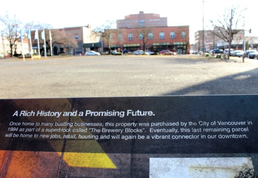 In 2012, the Vancouver Downtown Association raised funds to install the  temporary Heritage Square on