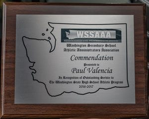 Paul Valencia recently received a Commendation Award from the Washington Secondary School Athletic Administrator's Association. Valencia has covered high school sports in Clark County for the past 17 years and currently is a staff reporter at ClarkCountyToday.com. Photo by Mike Schultz