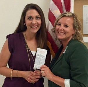 Woodland High School teacher Shari Conditt (right) met with Washington State Representative Jaime Herrera Beutler (left) to discuss funding structures and to advocate for Woodland's students and staff. Photo courtesy of Woodland Public Schools