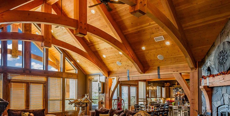 Interior structures are a staple of Arrow Timber Framing, and show off the structure of the building by exposing trusses and frames. Photo by Mike Schultz