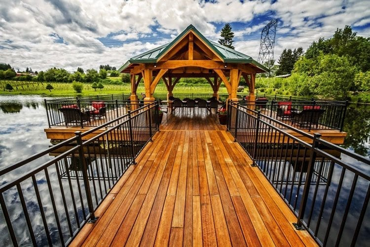Bert Sarkinnen, owner of Arrow Timber Framing, said the floating gazebo created for Bethany Vineyard & Winery was one of the most memorable projects he has worked on. Photo courtesy of Arrow Timber Framing