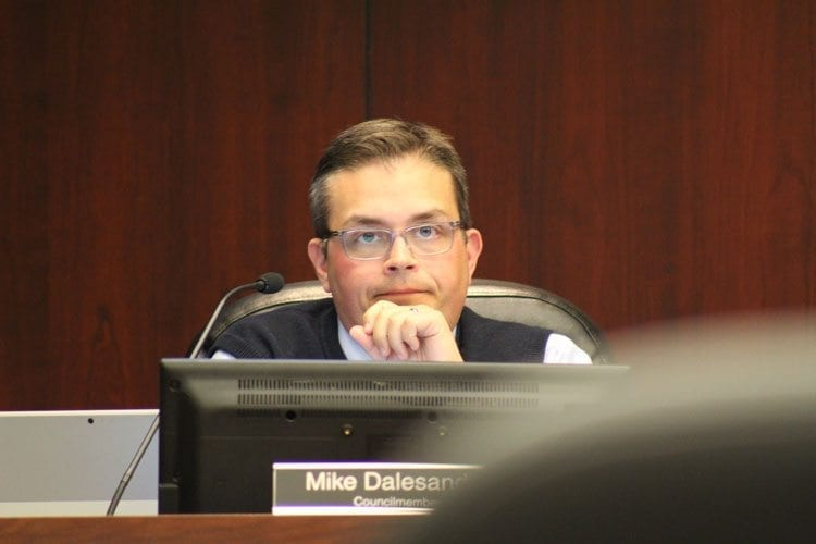 Council member Mike Dalesandro asked for clarification as to why a city ordinance regarding the city's salary commission had to be repealed to make changes, rather than simply being revised. Photo by Alex Peru
