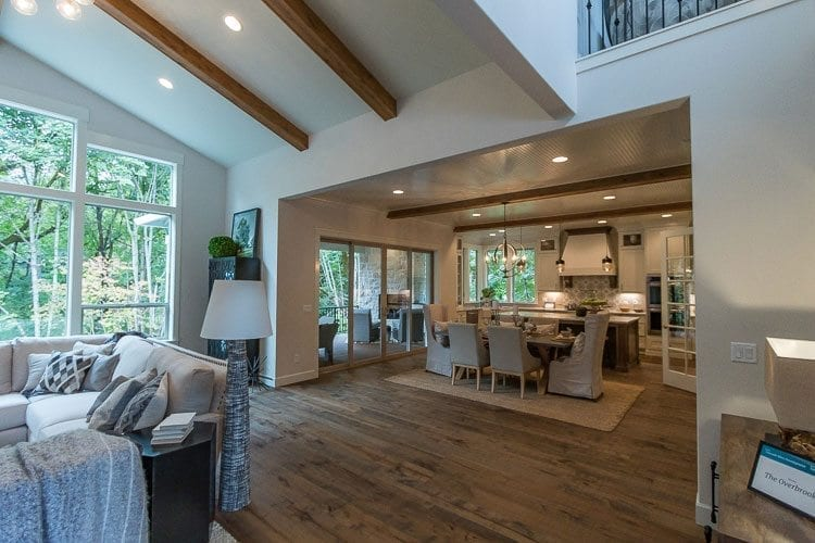 Another entry into the Parade of Homes by Cascade West Development, The Overbrooke was designed for family living and features a spacious great room connected to a kitchen and dining area. Photo by Mike Schultz