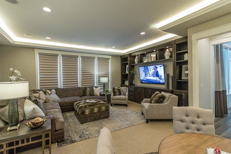 The Turtledove, by Cascade West Development, featured a large entertainment room with wet bar located off of the main great room. Photo by Mike Schultz