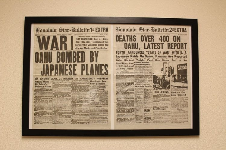 Historic artifacts in the Hall of Honor include newspaper clippings, such as those that announced the Japanese attack on Pearl Harbor on Dec. 7, 1941. Photo by Alex Peru