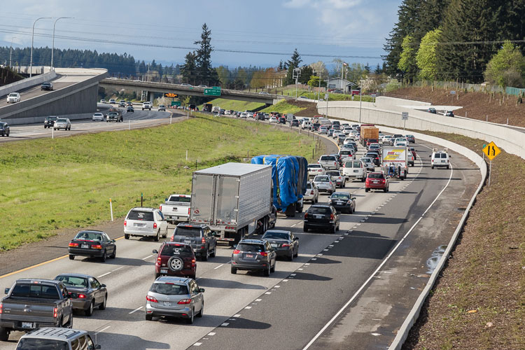 This recent photo shows commuters on a recent afternoon coming home from Oregon via the I-205 bridge. Transportation congestion issues remain one of the biggest concerns of Clark County citizens. Photo by Mike Schultz