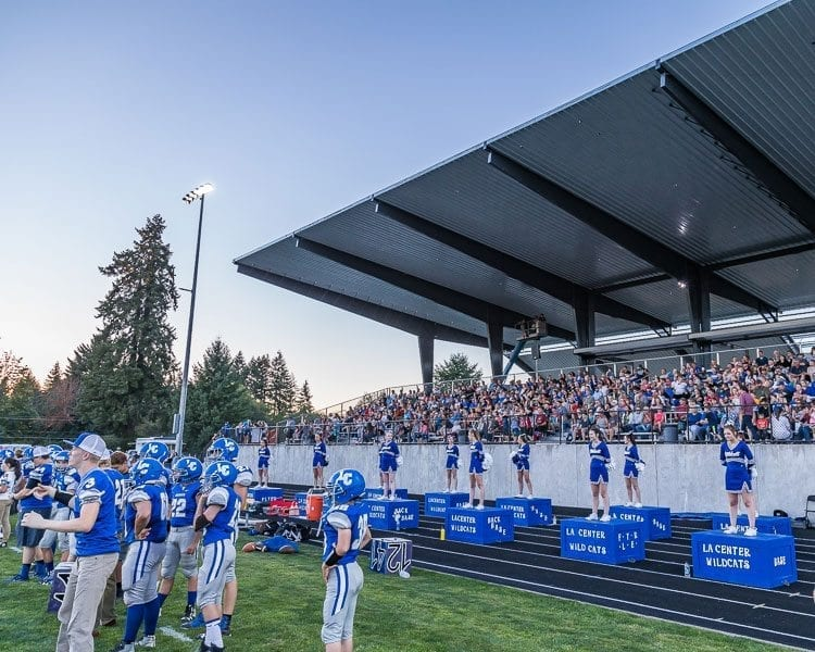 La Center got to open the 2017 high school football season in front of their fans who were enjoying the new improvements at the Wildcats home field but in Week 2 the Wildcats have to travel to Woodland to meet the Beavers. Photo by Mike Schultz
