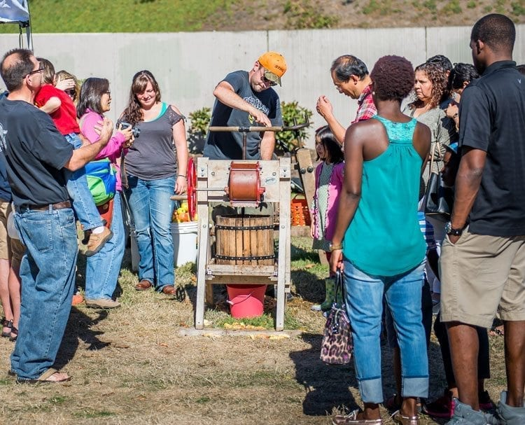 The apple press is always a popular attraction at the Old Apple Tree Festival. Photo courtesy of city of Vancouver