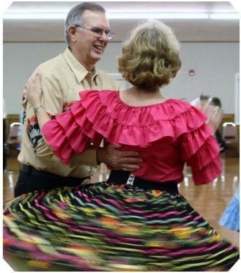 Ron and Emily Chase show good form in a square dance. Photo courtesy of Liza Halpenny
