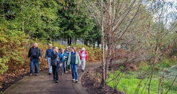 Neighborhood tree stewards learn about the trees along the Burnt Bridge Creek Trail. Photo courtesy of city of Vancouver