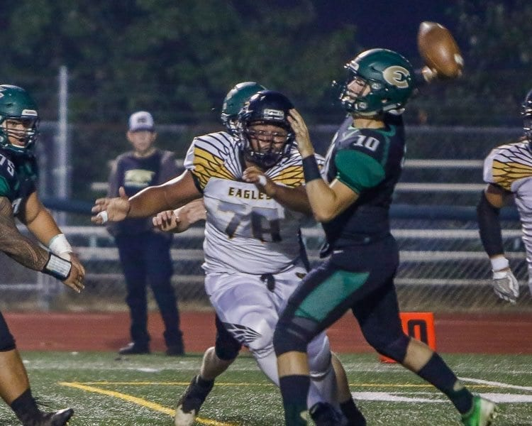 Evergreen quarterback Triston Fich (10) led the Plainsmen to a victory over Hudson's Bay earlier this season. Both teams are still in the race for a Class 3A Greater St. Helens League playoff berth as the season heads into Week 7. Photo by Mike Schultz