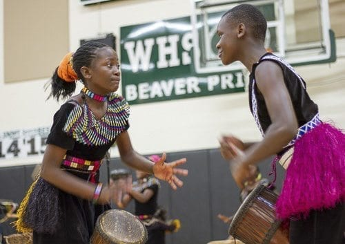 The young performers of I Am Family range in age from 13-16 years old and perform songs and dances from the more than 50 tribes living in Uganda. Photo courtesy of Woodland Public Schools