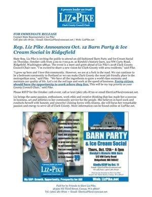 Rep. Liz Pike has invited the public to a Barn Party & Ice Cream Social Thu., Oct. 12, 4-7 p.m. at Rietdyk's Historic Milk Barn in Ridgefield.