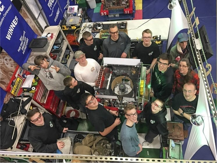The CAM Academy Robotics team, The CloverBots, prepare their robot for a national competition. Photo courtesy of Battle Ground School District