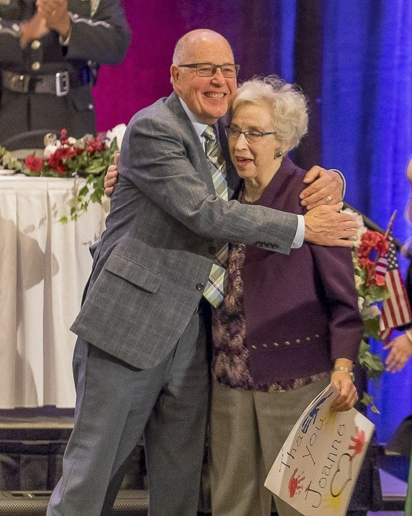 """At the 2017 Clark County Prayer Breakfast Thursday morning at the Vancouver Hilton, Pastor Bill Ritchie praised Open House Ministries founder Joanne Kendall for her work, calling Kendall a """"class act."""" Photo by Mike Schultz"""