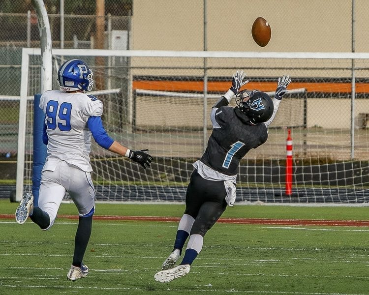 Hockinson defensive back Aidan Mallory (1) intercepts a pass intended for Pullman tight end Jared Holstad (99) during the Hawks' win in the state playoffs Friday at District Stadium in Battle Ground. Photo by Mike Schultz