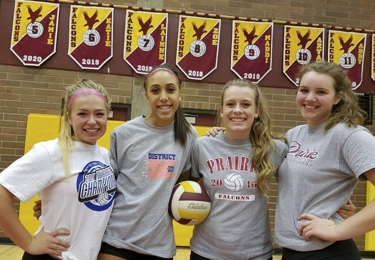 The four Prairie seniors (left to right) Megan Hammes, Zoe McBride, Abby Brotherton, and Aryah Marlow remember when they were freshman how important it was to them when the seniors befriended them. This year, they did the same to the incoming freshmen. This tradition will carry on next year, too, at Prairie. Photo by Paul Valencia