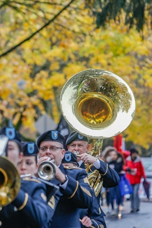 The 204th Army Band marched in the Veterans Day Parade in Vancouver on Saturday, providing patriotic music for the festivities. Photo by Mike Schultz