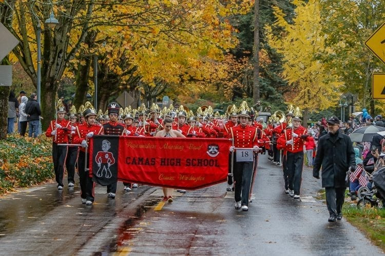 The Camas High School band was one of several marching bands that made an appearance at the Veterans Day Parade Saturday. Photo by Mike Schultz