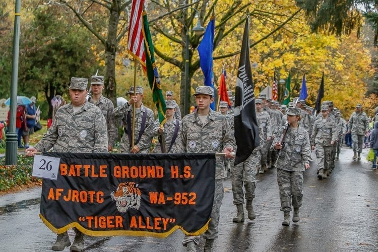 The Battle Ground and Prairie High School's Junior Air Force ROTC organizations marched in Saturday's Veterans Day Parade in Vancouver. Photo by Mike Schultz