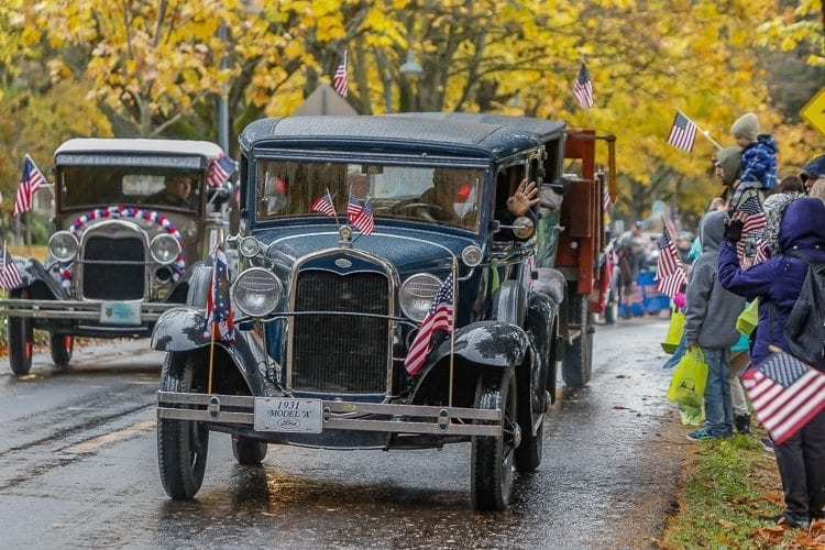 The Clark County Flying Eagle A's Ford Model A Club entered a fleet of Ford Model A's into the Veterans Day Parade in Vancouver on Saturday. Photo by Mike Schultz