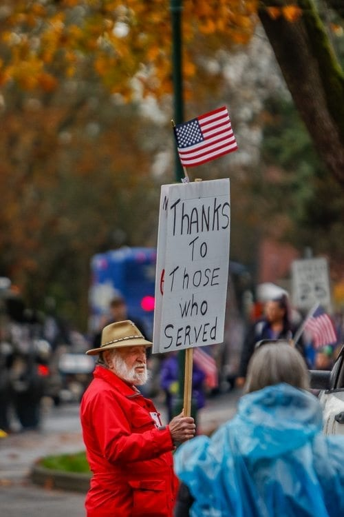 Vancouver resident David Alt came out to the Vancouver Veterans Day Parade Saturday to express gratitude for those who have served. Photo by Mike Schultz