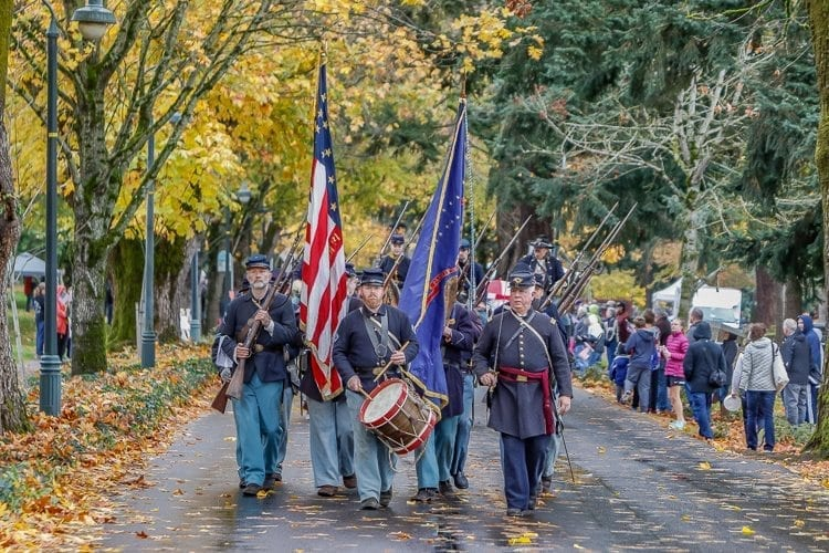 The 1st Oregon Volunteer Infantry is a group devoted to researching and preserving Civil War history, and made an appearance at the Veterans Day Parade on Saturday. Photo by Mike Schutlz
