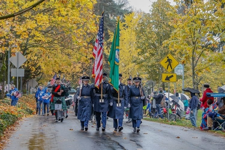 The Veterans Day Parade in Vancouver was led by the color guard for the 142nd Fighter Wing of the Oregon Air National Guard. Photo by Mike Schultz