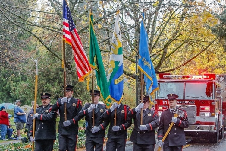 The Vancouver Fire Department provided a color guard and fire engine to help celebrate Veterans Day on Saturday in Vancouver during the parade. Photo by Mike Schultz