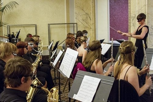 The Woodland High School Beaver Band performed as part of the Oregon Symphony's Prelude Concert Series. Photo courtesy of Woodland School District