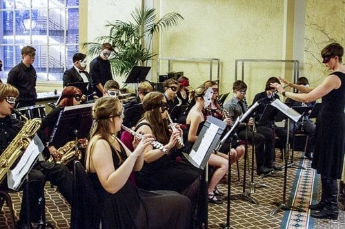 """The students wore formal attire and masks in honor of the Oregon Symphony's performance of """"The Phantom of the Opera"""" that night. Photo courtesy of Woodland School District"""