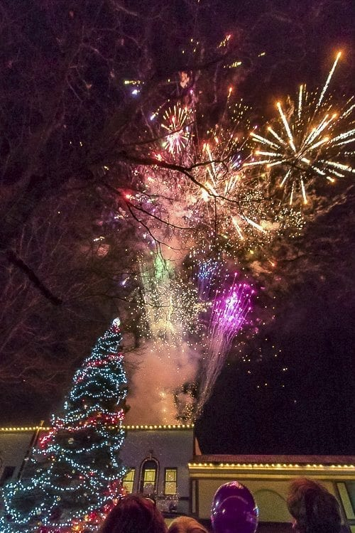 As the tree in front of the Liberty Theatre in downtown Camas was lit during the Hometown Holidays event, crowds were enthralled by fireworks bursting overhead, marking the beginning of the Christmas season for the city. Photo by Mike Schultz
