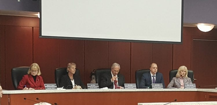 Members of the Clark County Board of Councilors voted Tuesday to raise property taxes 1 percent as part of the mid-biennium readoption of the 2017-2018 budget. Shown here at Tuesday's meeting are councilors Jeanne Stewart, Julie Olson, Chair Marc Boldt, John Blom and Eileen Quiring. Photo courtesy of Brook Pell