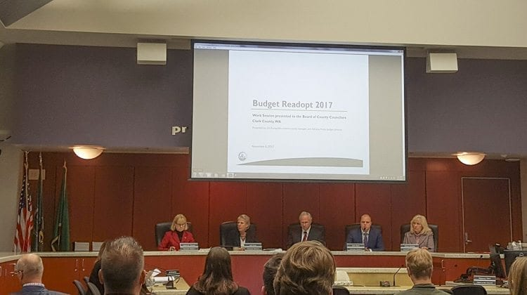 The Clark County Board of County Councilors completed its required mid-biennium readoption of the 2017-18 budget Tuesday evening. Photo courtesy of Brook Pell