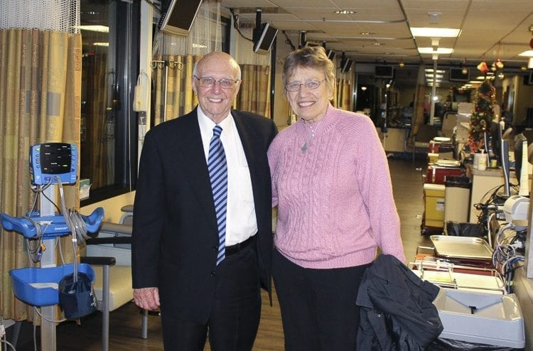 Don Heimbigner and PeaceHealth Board Chair Sister Andrea Nenzel tour the newly-named Elaine & Don Heimbigner Oncology Infusion Center. Photo courtesy of PeaceHealth Southwest
