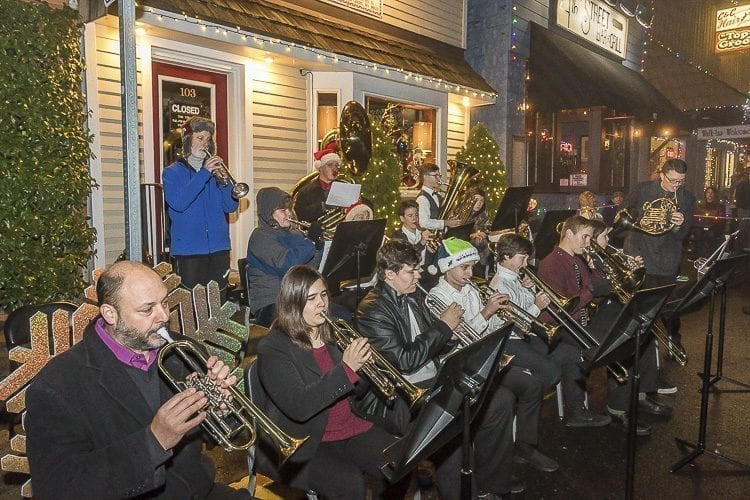 A Brass Ensemble made up of students from La Center Middle and High Schools played Christmas songs at the annual Christmas Festival in La Center. The ensemble was directed by La Center High School music teacher James Cameron and La Center Middle School music teacher Perry Calabrese. Photo by Mike Schultz