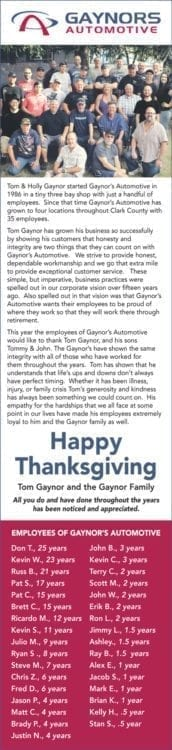 Ad from Gaynor's staff that ran in The Columbian Newspaper. Click to view.