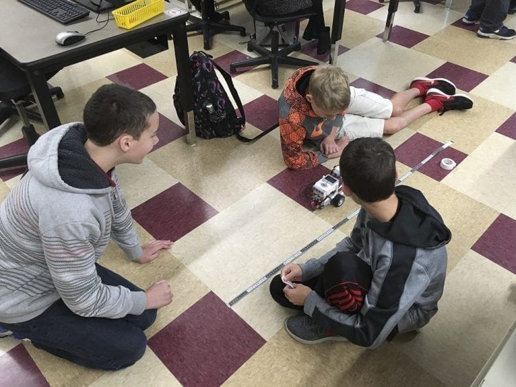 Tukes Valley eighth graders test their robot. Photo courtesy of Battle Ground Public Schools