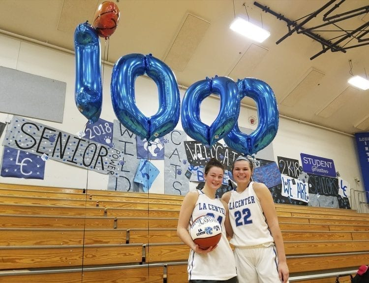 Taylor Stephens and Taylor Mills (22) both hit the 1,000-point mark in their careers this season for the La Center Wildcats. Stephens, a junior, got to 1,000 in Thursday's win over White Salmon. Mills, a senior, got to 1,000 last month. Photo by Paul Valencia