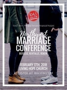 The NW Marriage Conference is designed to provide couples with tools and information needed to work through difficulties and improve their marriage. Photo courtesy of WAY-FM