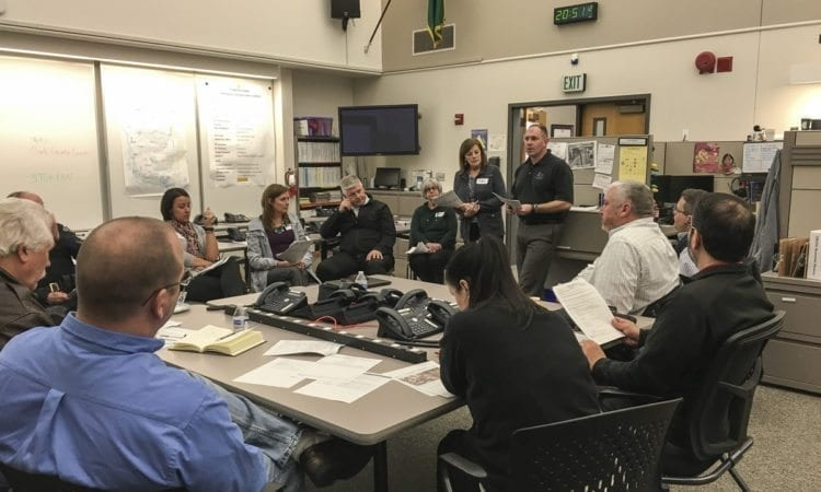 Earlier this month, members of the Battle Ground City Council and senior staff met with emergency management professionals at CRESA (Clark Regional Emergency Services Agency) to review and practice emergency response systems and procedures. Photo courtesy of city of Battle Ground