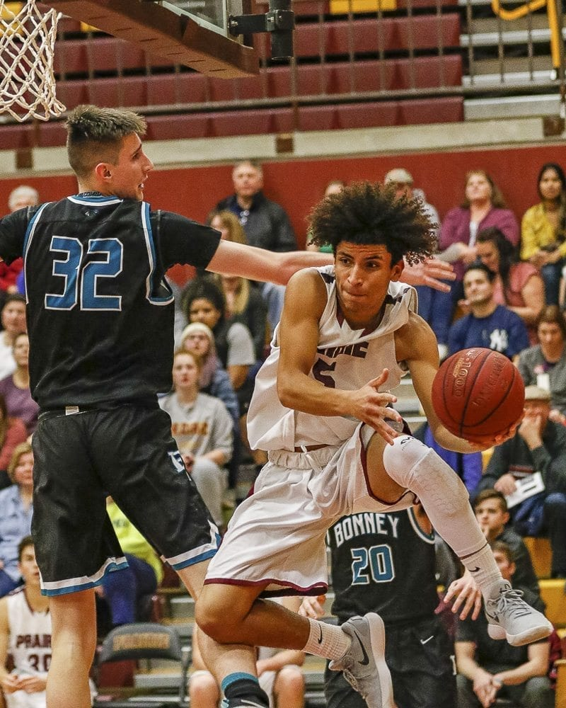 Zeke Dixson, shown here earlier this season, was credited by coach Kyle Brooks for his energy on defense in Prairie's win Thursday night to clinch a berth to the state tournament. Photo by Mike Schultz
