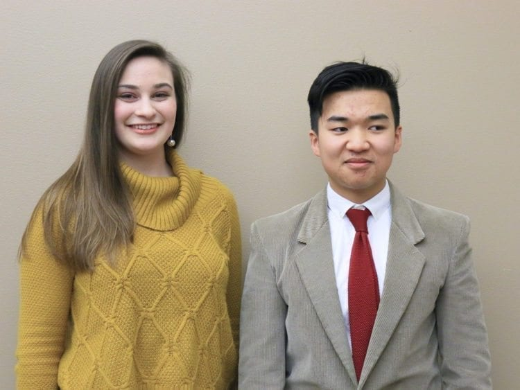 Alaya Mays (left) and Isaac Lu (right) were the top two finishers of the Southwest Washington Regional Poetry Out Loud contest. Photo courtesy of ESD 112