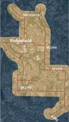 Map shows the planned 42-miles of dark fiber planned for the Discovery Corridor. Photo courtesy Port of Ridgefield