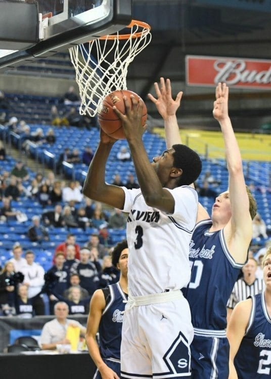 Skyview senior Samaad Hector, shown here earlier this week, had the best game of his career Friday, leading the Storm to a trophy game at the Class 4A state tournament. Hector had 26 points and 17 rebounds in a 64-56 win over Kamiak. The Storm will play Enumclaw for fourth place Saturday. Photo courtesy of Kris Cavin