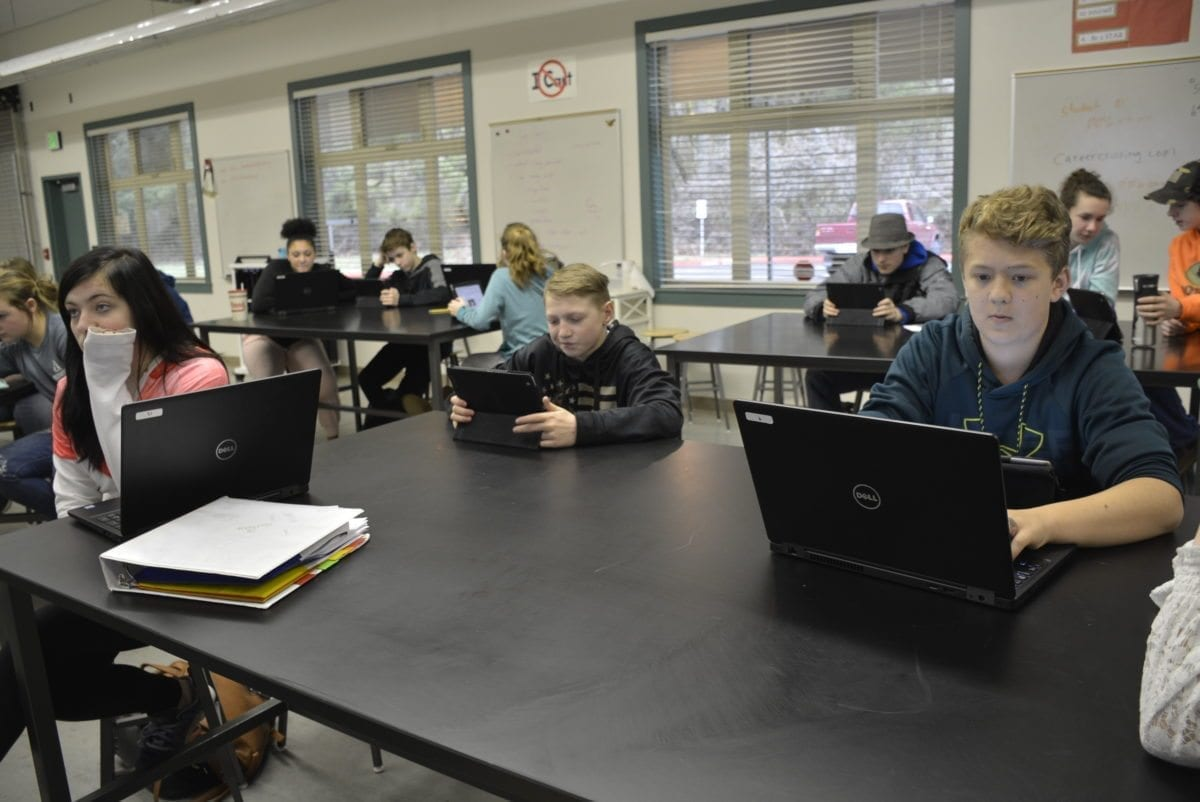 Washougal students work on their High School and Beyond Plans. Photo courtesy of Washougal School District